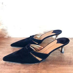 ANTONIO MELANI Black Velvet Mules Kitten Heel 8